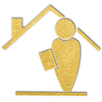 gold icon depicting a person with a tablet or phone standing in front of a house