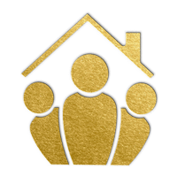 gold icon depicting three people standing under the roof of a house