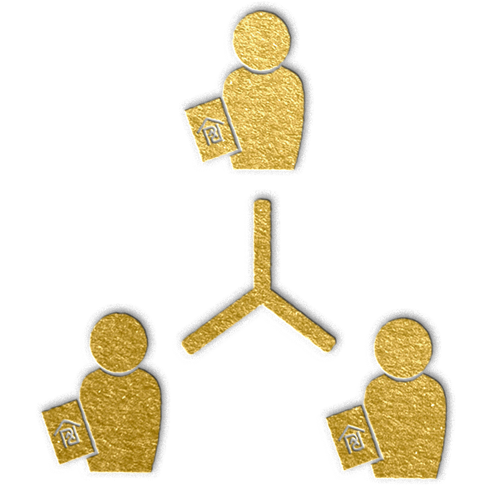 gold icon depicting three people connected by lines