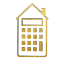 gold icon depicting a calculator shaped like a house