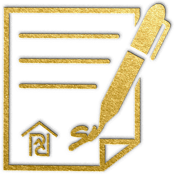 gold icon depicting a pen signing a co-ownership agreement