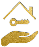 gold icon depicting a hand holding a key underneath the roof of a house